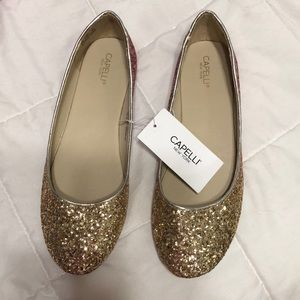 Pink and Gold glitter flats